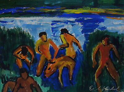 German Expressionist Unique Figurative Painting signed