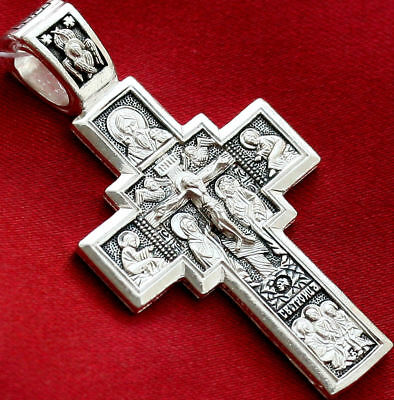 Russian Orthodox Body Cross Silver 925 Jesus Lord Almighty Crucifix. Blessed New