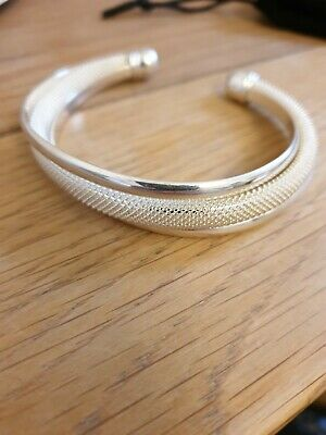 Tiffany & Co 925 Sterling Silver Dream Mesh Band Bangle Bracelet Cuff Adjustable