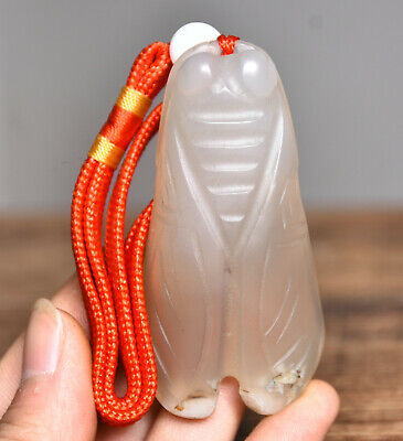 """3""""Old China Hongshan Culture Agate Carved Cicada Insect Statue Amulet Pendant"""