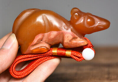 """3.4""""Old China Hongshan Culture Agate Carved Mouse Beast Statue Amulet Pendant"""