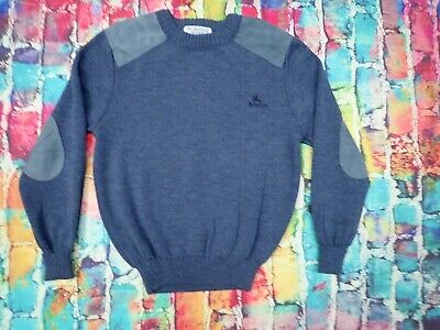 C29 Vintage 1980's 1990's Burberry Jumper Suede Elbow Patches Wool Large
