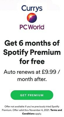 Spotify 6 Month Premium Code - New Accounts (RRP £59.94)