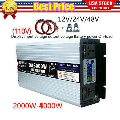 Intelligent Pure Sine Wave Inverter DC12V24V48V to AC110 Peak Power 2000W-4000W
