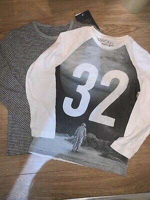 Boys Mayoral Pack Of Two  Long Sleeve T Shirts Tops White & Grey  Age 6 Years
