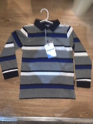 Boys Mayoral Blue Stripe Long Sleeve Polo Top Blue & Grey Age 6 Years