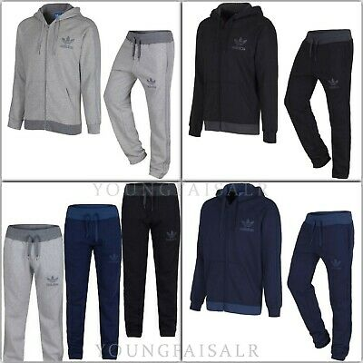 Adidas Mens Original Spo Trefoil Fleece Tracksuit Zipper Hoodie Joggers Gym