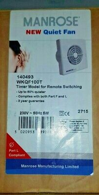 Manrose WKQF100T Quiet Extractor Fan Timer model for remote switching   FREE P+P