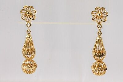 Vintage 14k Yellow Gold Dangle Artisan Handcrafted Bead Filigree Post Earrings