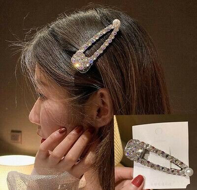Fashion Korean Crystal Pearl Hair Clip Hairband Bobby Barrette Hairpin