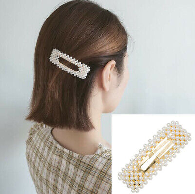 Fashion Korean Pearl Hair Clip Hairband Bobby Barrette Hairpin For Girl