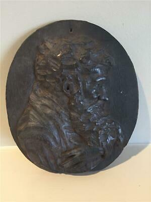 "Vintage - Bearded Man Relief Wood Carving - 6"" x 5"" ~Round Wall or Shelf Plaque"