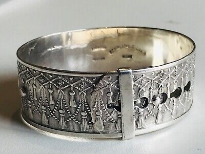 Antique Victorian Sterling Silver fidelity Engraved Bangle