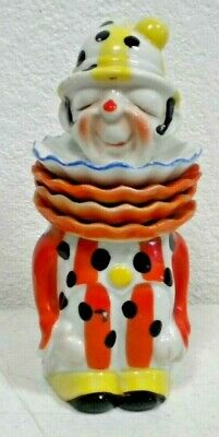 Vintage Japan Ceramic CLOWN TEA Jar Canister Caddy Ruffled Collar Teabag Holders