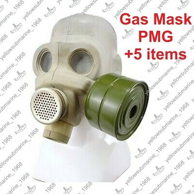Vintage Soviet Russian USSR Military PMG Gas Mask with original bag SIZE 1,2,3