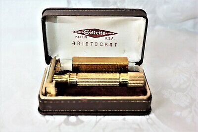 vintage Gillette Aristocrat Razor leather box, razor container gold safety razor