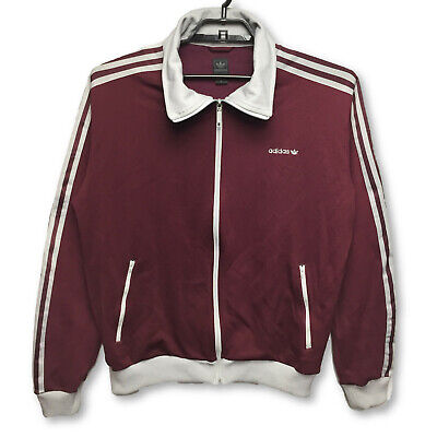 Adidas Mens XL Full Zip Track Suit Jacket Maroon Gray Embroidered Trefoil Stripe