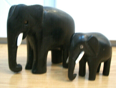 Antique Victorian Ebony Hand Carved Wooden Elephants  Cow With Calf