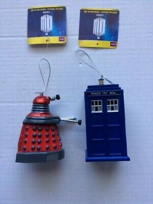 Doctor Who Lot of Two Plastic Christmas Tree Ornament  Tardis and Red Dalek NWT