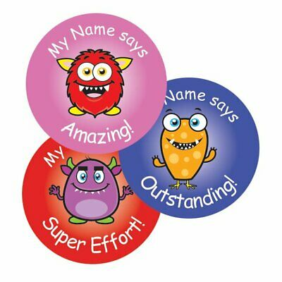 Teacher Merit Stickers - 25mm Cute Monster theme, Personalised Name