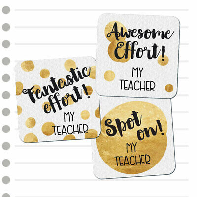Teacher Merit Stickers - 25mm Square Dots theme, Personalised Name