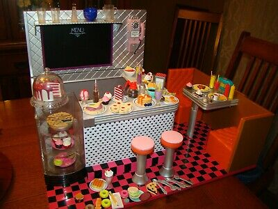 Fits American Girl Doll Our Generation preten food Retro Diner Acessories lot