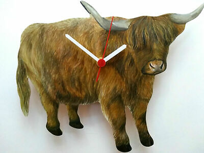 Highland Cattle Hand Made Wooden Wall Clock Highland Cow Farm Yard Collection