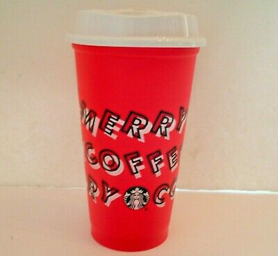 Starbucks 2019 Red Reusable Cup Grande 16oz MERRY COFFEE Christmas .50 OFF DISC