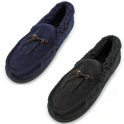 Mens Classic Faux Suede Moccasin Slippers Comfy Wool Lined Slip On House Shoes