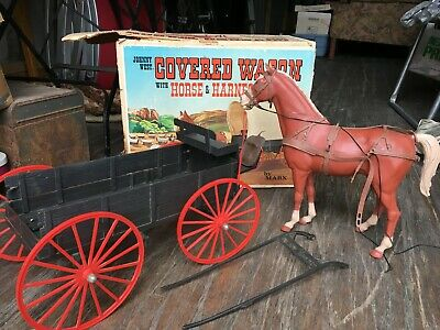 Vintage Marx Johnny West Covered Wagon With Horse And Harness W/ Box