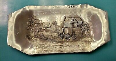 """Wendell August Forge Handmade Aluminum Tray with Amish Themes, 12"""" L x 6"""" W"""
