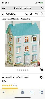 Asda George Wooden Light Up Dolls House AND Matching Large Furniture Set