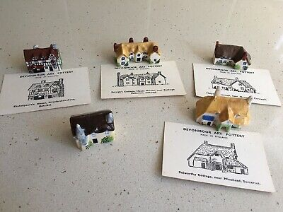 Devonmoor Art Pottery - Miniature Cottages  x 5 Vintage  >60 yrs old, with cards