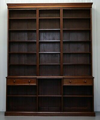 Stunning Very Large 245Cm Tall Victorian Mahogany Library Breakfront Bookcase