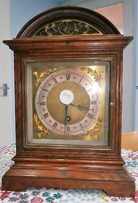 Oak & Brass Bracket Clock Timepiece in Good Working Order