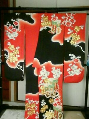 Vintage Japanese Kakeshita/Wedding Kimono Red/Black/Gold 'Clouds & Blossoms' M/L