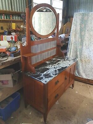 Antique Art Deco Edwardian Marble Top Washstand