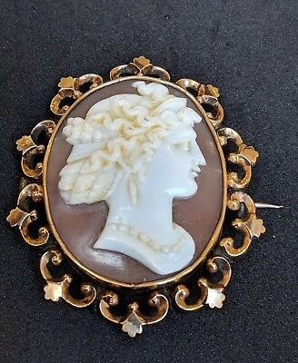 Large Antique Victorian Shell Cameo 9ct Gold Brooch Pin Goddess Hera