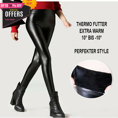 Winter Thermo Matt Leder Optik Leggings High Waist blickdicht Hose warm S M L