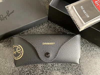 Official Rayban Glasses Black Leather Case With Box And Cleaning Cloth.