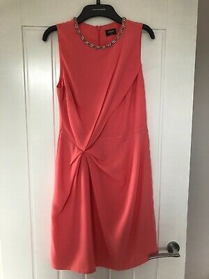Oasis coral embellished occasionwear dress size 10