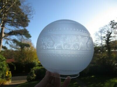 Rare  Antique Victorian Hinks 1891 Crystal Etched Glass Duplex  Oil Lamp Shade
