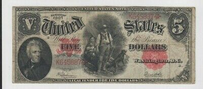 Legal Tender $5 1907 Wood Chopper one old note fine stains