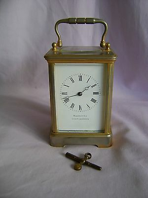 ANTIQUE c1880 FRANCOIS ARSENE MARGAINE TIMEPIECE CARRIAGE CLOCK + KEY IN GWO