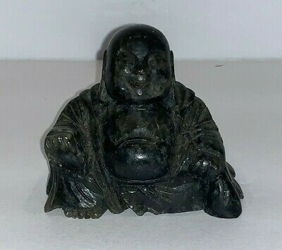 Antique Chinese Carved Stone Small Sitting Laughing Buddha Statue
