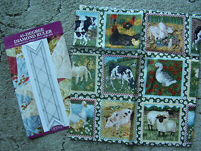 """Fabric Piece for Squares for Patchwork/Quilting 44"""" x 11.5"""" plus template Ruler"""