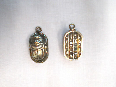 New 3D Egyptian Pyramid Scarab Beetle Cast Metal Pewter Pendant Adj Necklace