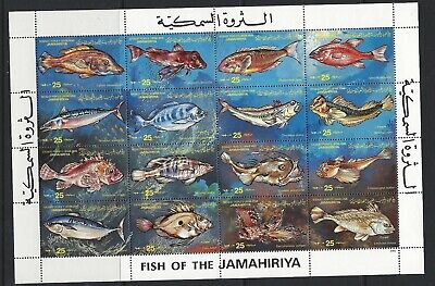 LIBYA, MNH sheet of 16 fish stamps, issued 1983, scott# 1070 see scan