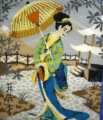 Large Completed Cross Stitch Tapestry Picture Japanese Geisha With Parasol