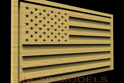 3D STL Model for CNC Router Carving Artcam Aspire USA Flag America D516